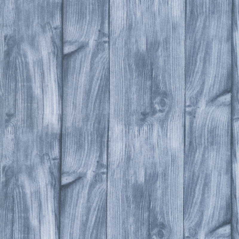 A Day at the Lake - Wood Texture Blue Yardage