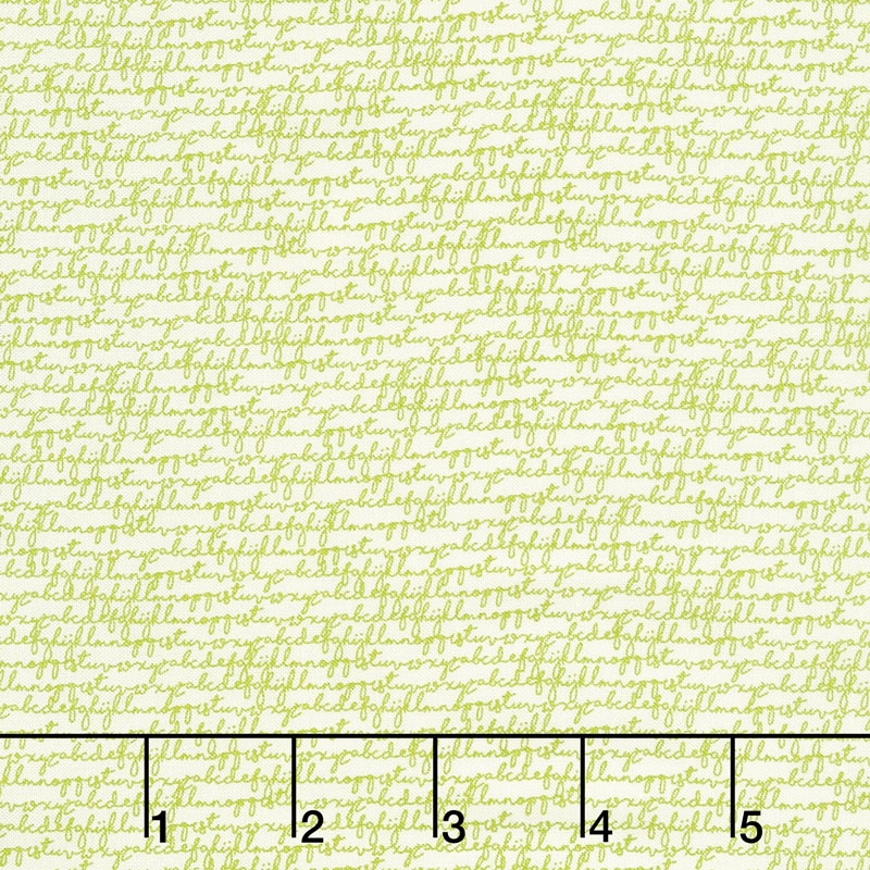 Authentic Etc. - Alphabet Green on Cream Yardage