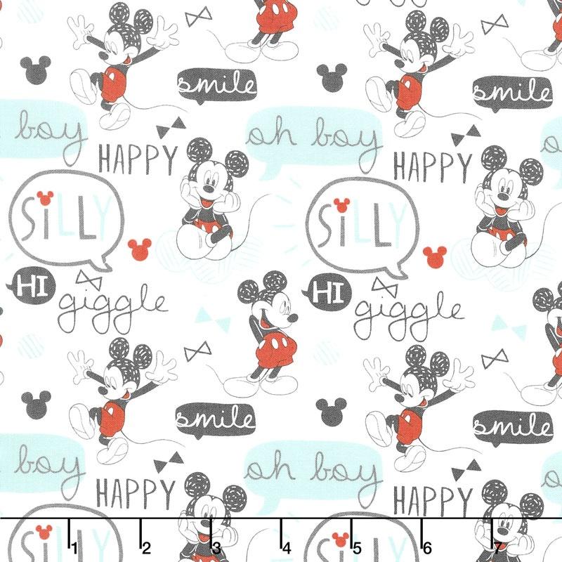 Mickey Mouse - Oh Boy! White Yardage