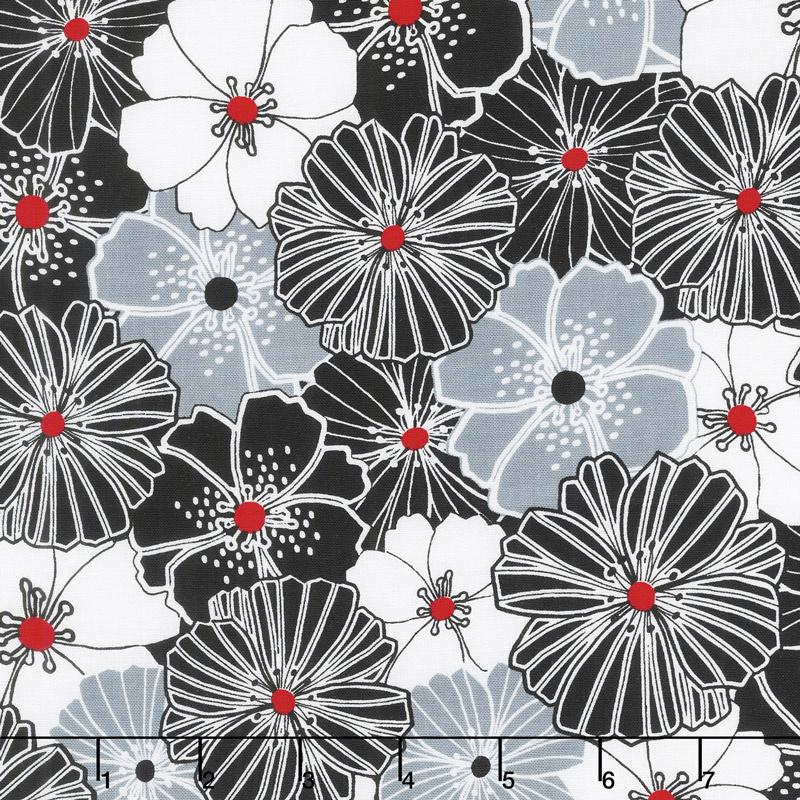 Cherry Twist - Packed Poppies Gray/Cherry Yardage