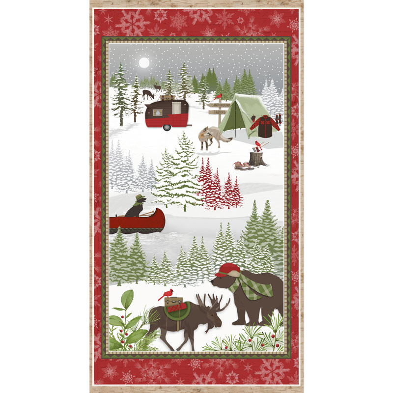 Woodland Haven - Camping Red Flannel Panel
