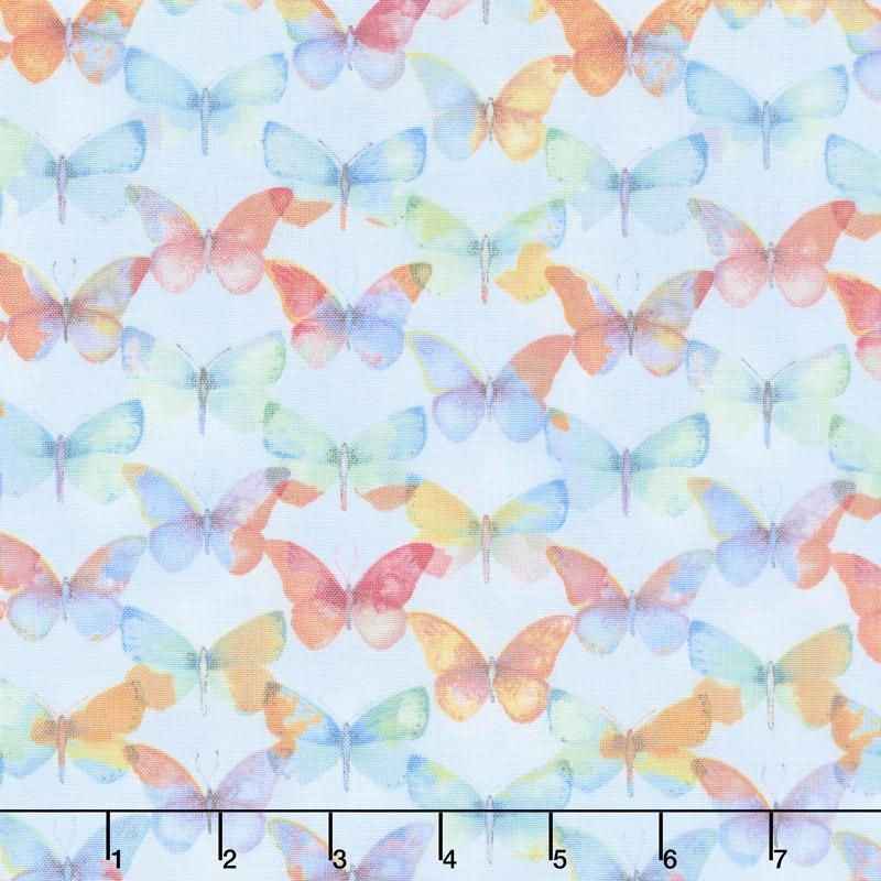 Papillon Parade - Tonal Butterfly Light Blue Yardage