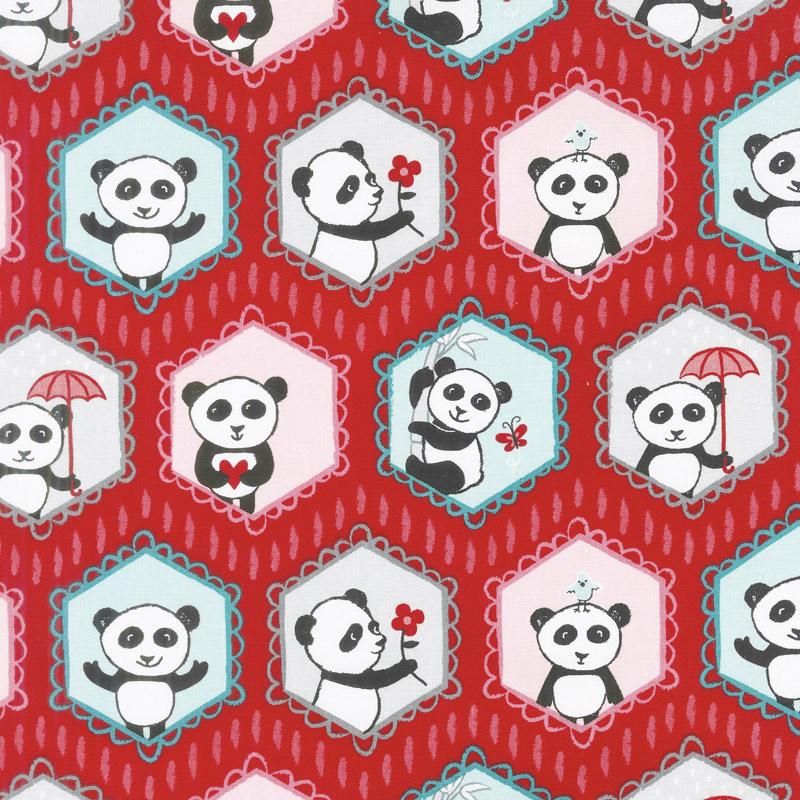 Panda Love - Main Red Yardage