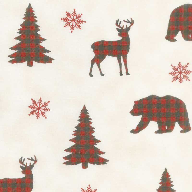 Holiday Lodge - Buffalo Plaid Forest Winter White Yardage