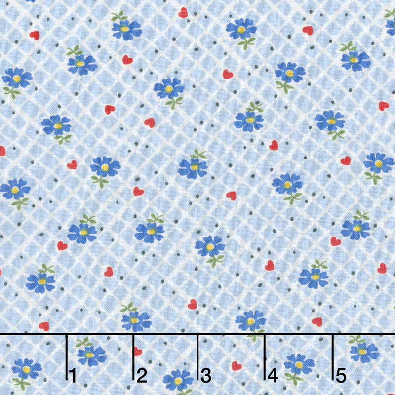 Sugar Sack - Floral Check Blue Yardage