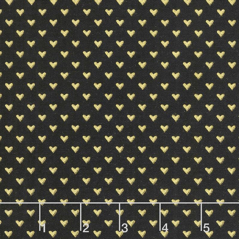 Hello Sweetheart - Mini Hearts Black With Gold Sparkle Yardage