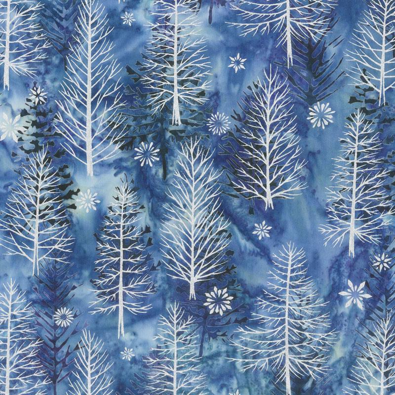 Artisan Batiks - Northwoods 8 Trees Winter Metallic Yardage