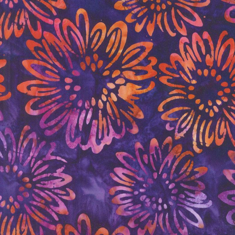 Artisan Batiks - Bright Blooms Flowers Purple Yardage