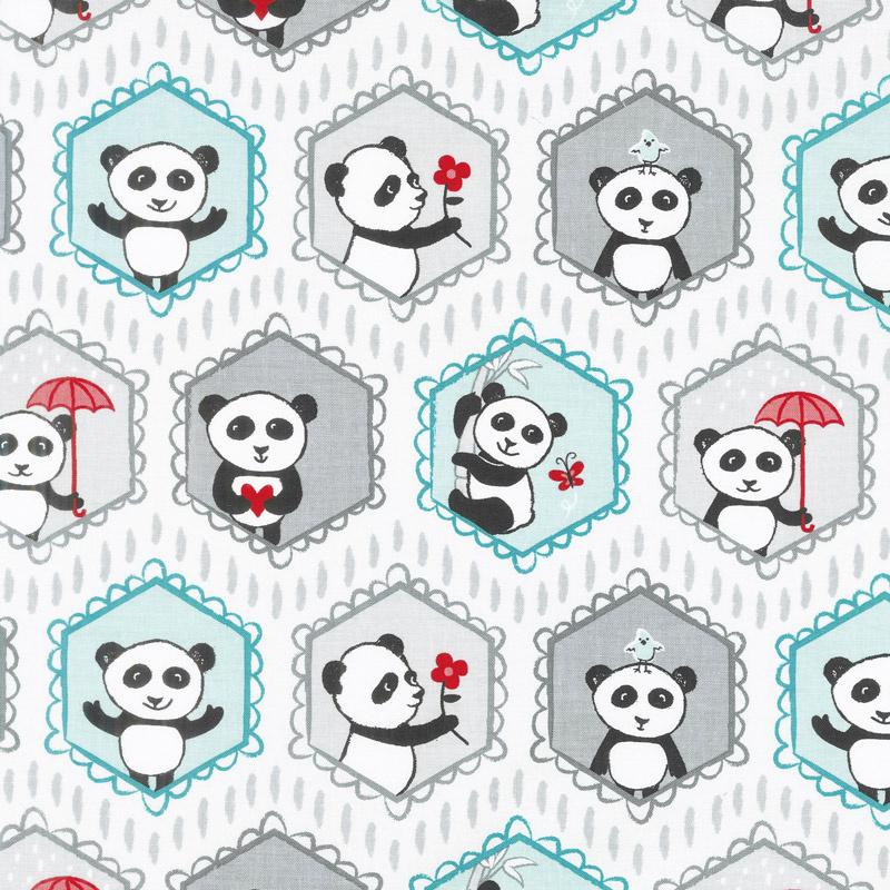 Panda Love - Main Light Gray Yardage