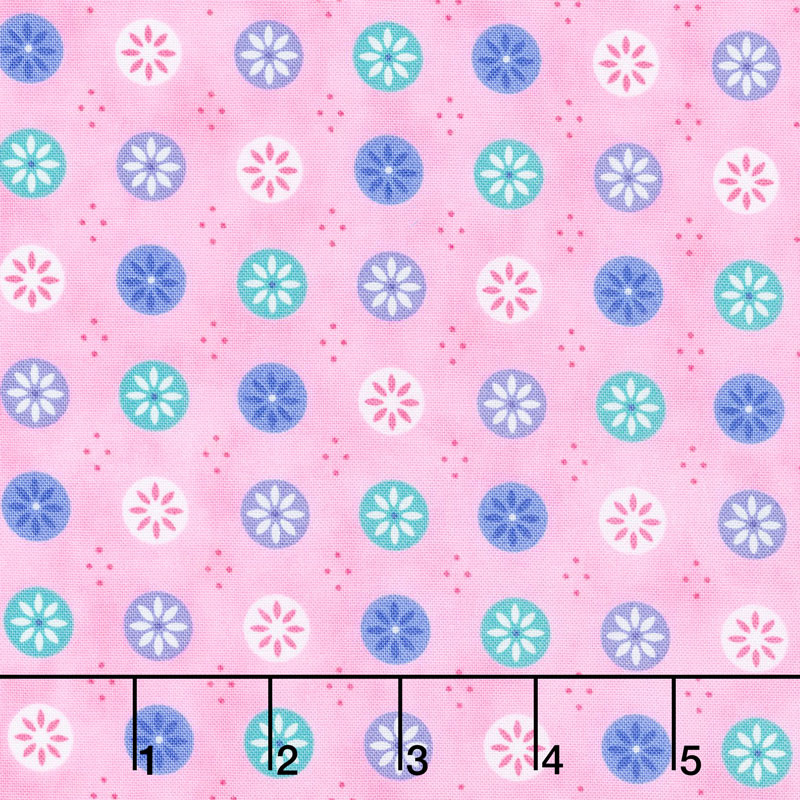Flower Sacks - Flowers in a Circle Pink Yardage