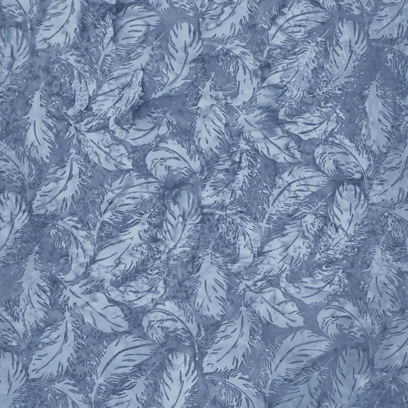 Faded Blue Jeans Batiks - Tossed Feather Rain Yardage