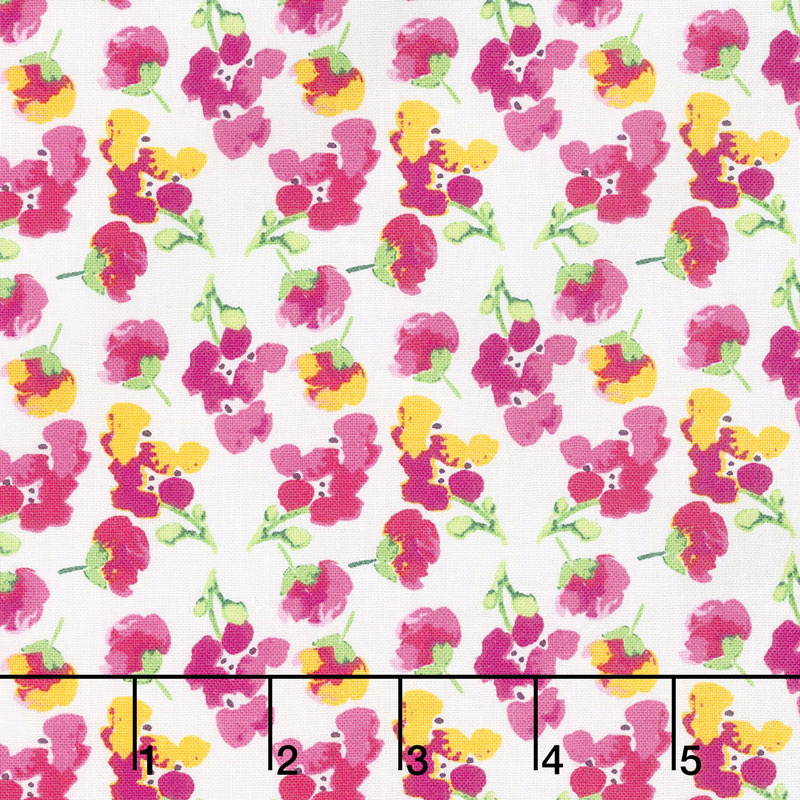 Fruitful Pleasures - Flowers White Yardage