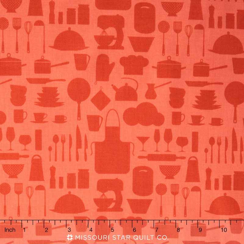 In the Kitchen - Silhouettes Paprika Yardage