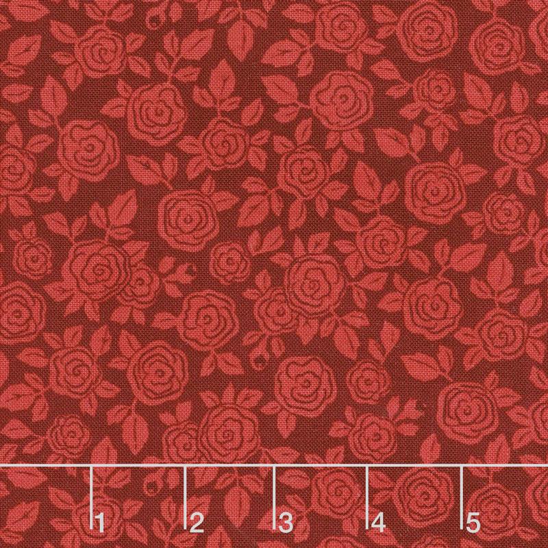 Hedge Rose - Floral Red Yardage
