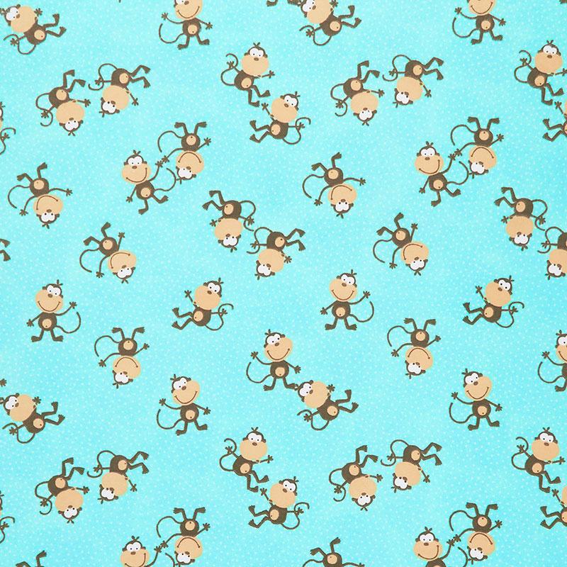 Comfy Flannel® - Tossed Monkeys Aqua