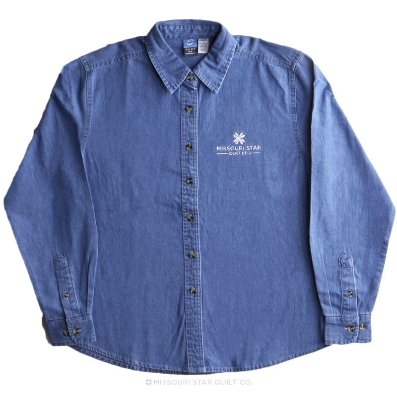 Missouri Star White Logo Women's Long Sleeve Denim Shirt Faded Blue - 3XL