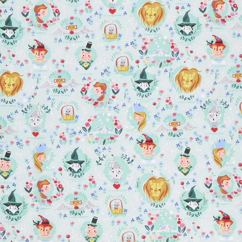 Dorothy's Journey - Dorothy's Vignette Mint with Silver Sparkle Yardage
