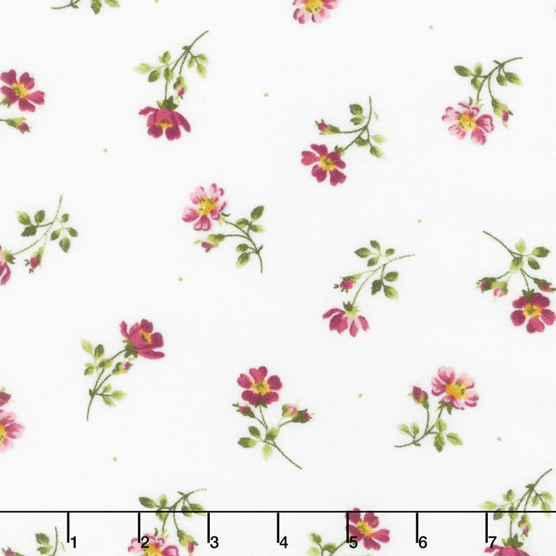 Wild Rose - Single Flowers Winter White Flannel Yardage