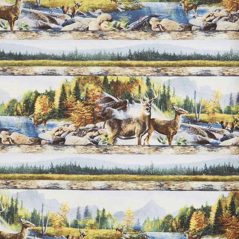 Hidden Valley - Deer Repeating Stripe Multi Yardage