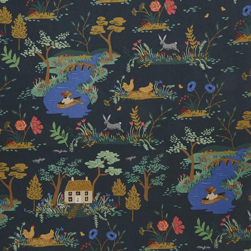 English Garden - Garden Toile Dark Linen Canvas Yardage