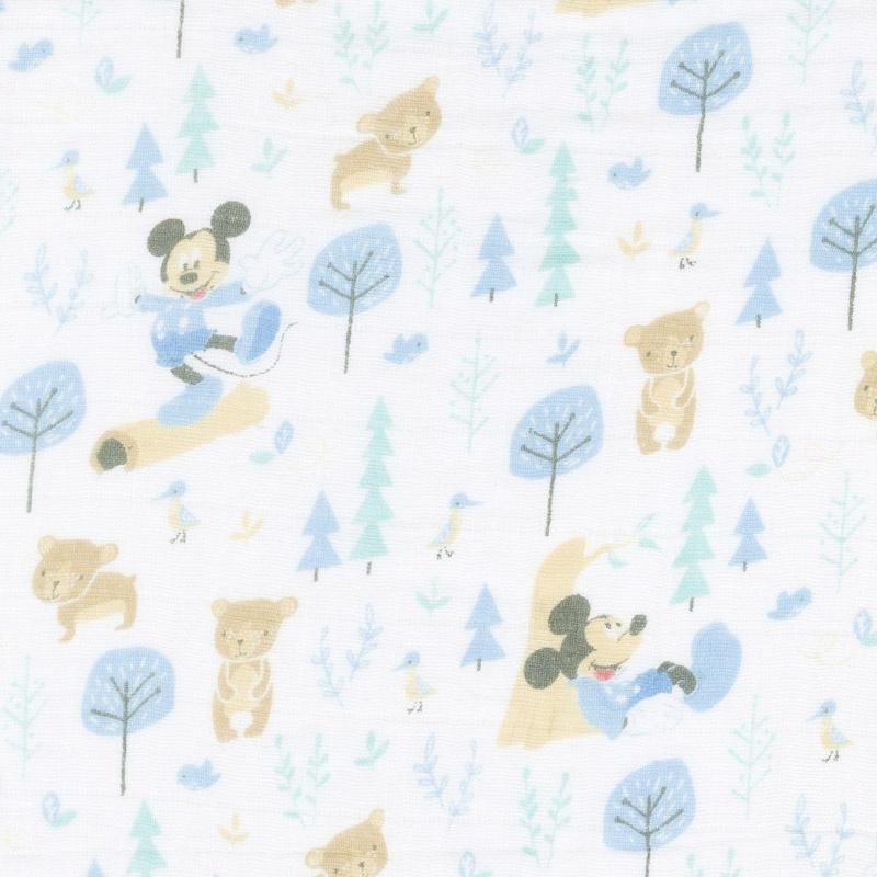 Cotton Muslin Double Gauze - Mickey Little Bear Blue Yardage