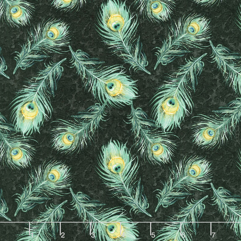 Plumage - Feathers Allover Green Yardage