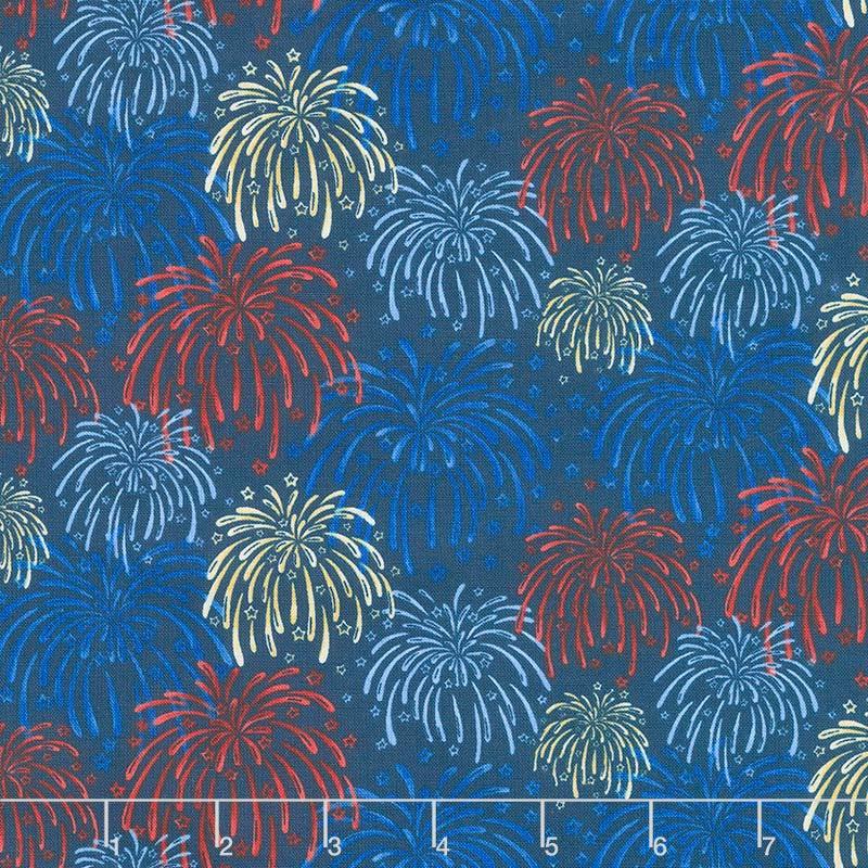 Land of the Free - Fireworks Blue Yardage