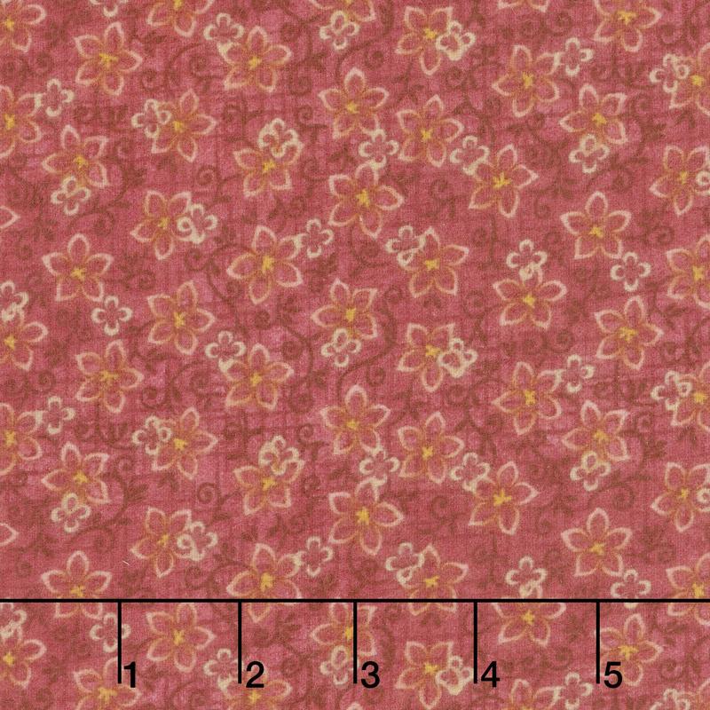 Folk Art Flannels 2 - Small Floral Pink Yardage