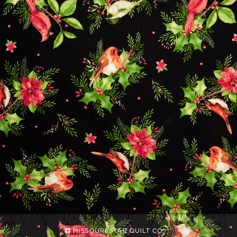 Songbird Christmas - Songbirds Black Yardage
