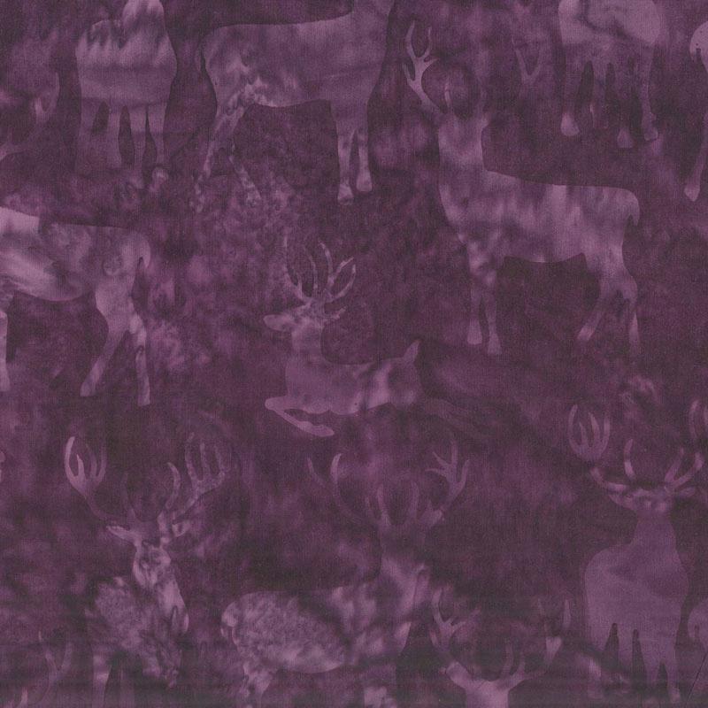 Snowberry Batiks - Deer Grouping Amethyst Yardage
