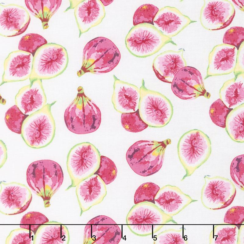 Fruitful Pleasures - Figs White Yardage