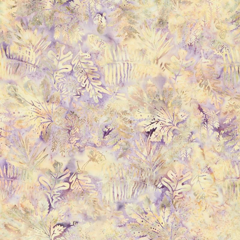 Quiet Shades Batiks - Large Leaves Opal Yardage