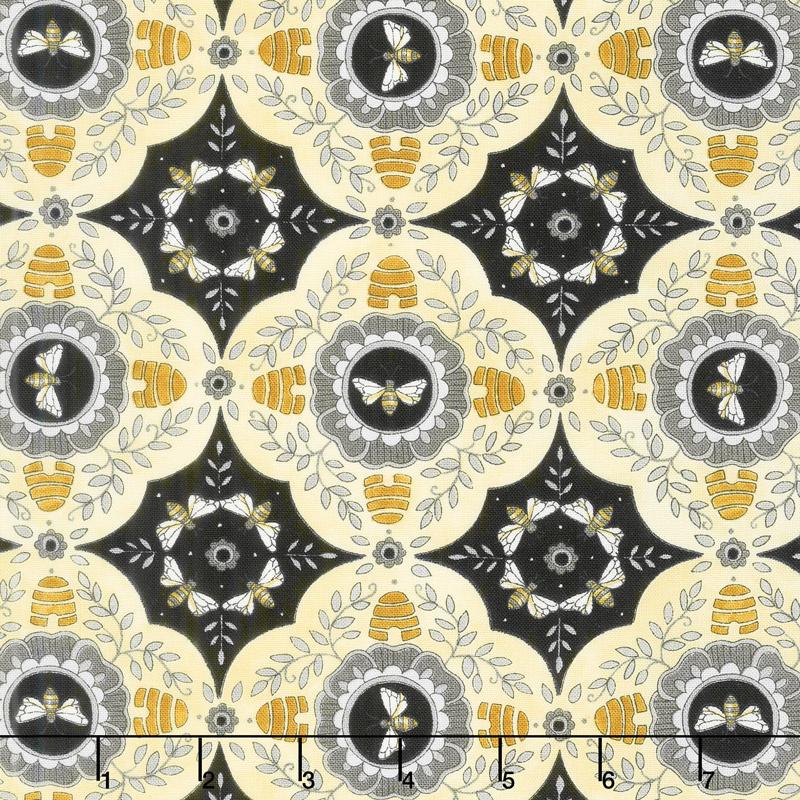 Bee Joyful - A Bee's World Ebony Yardage