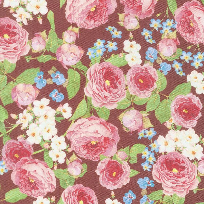 Farmhouse Rose - Flowers Red Yardage