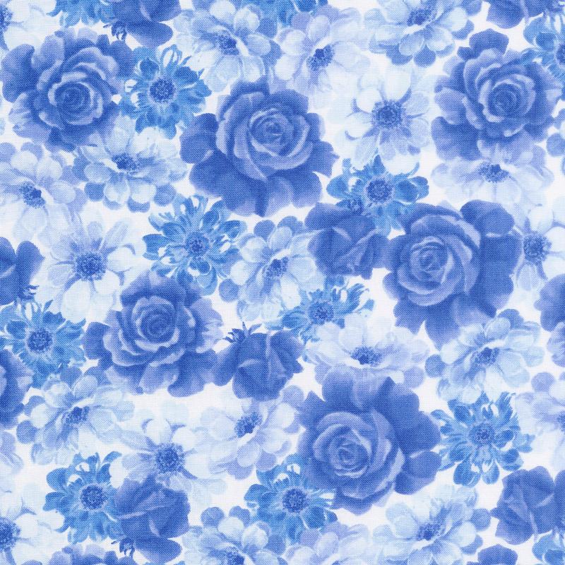 Summer Breeze VI - Packed Floral Blue Yardage
