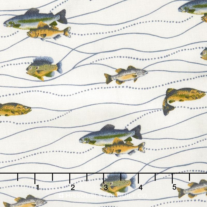 River Journey - Fishing Cream Yardage