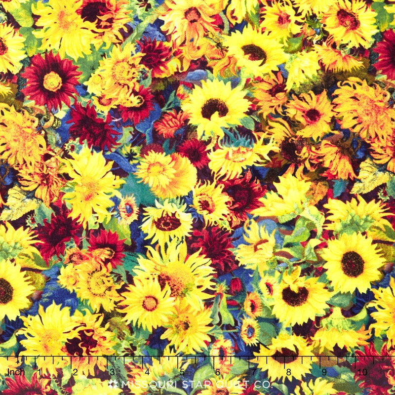 Flowers of the Sun - Small Packed Sunflowers Gold Multi Yardage ... 0466695d1f340