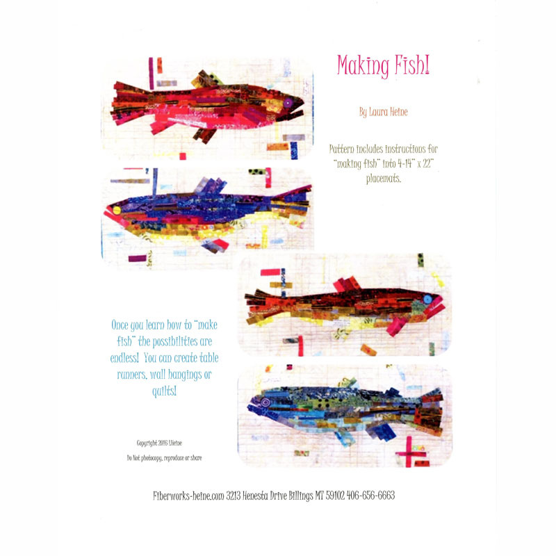 Making Fish Collage Place Mat Pattern - Laura Heine - Fiberworks, Inc.