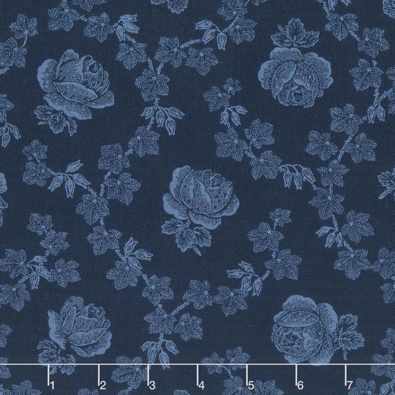 Abigail Blue - Trellis Rose Navy Blue Yardage