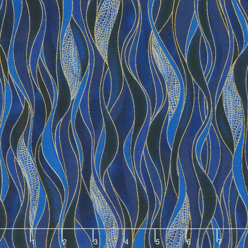 Dragonfly Dance - Blue Dancing Waves Navy Blue Metallic Yardage