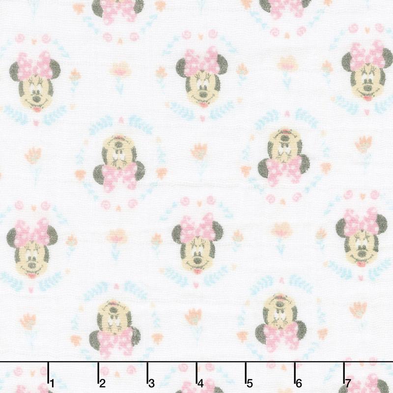 Cotton Muslin Double Gauze - Minnie Wildflowers Pink Yardage