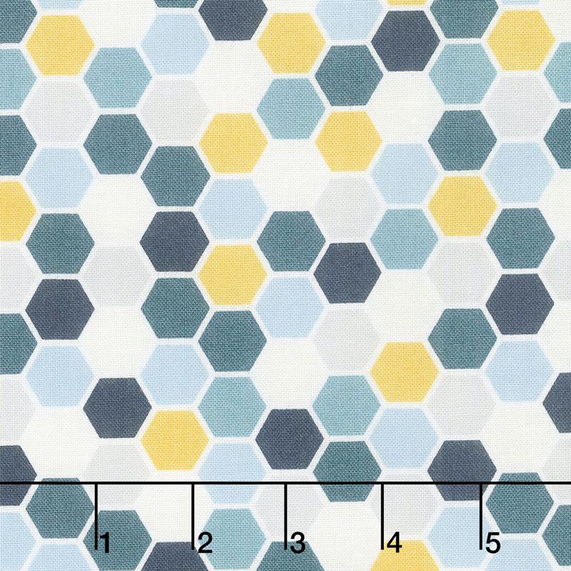 Make Yourself at Home - Mini Hexagons Blue Sunshine Yardage