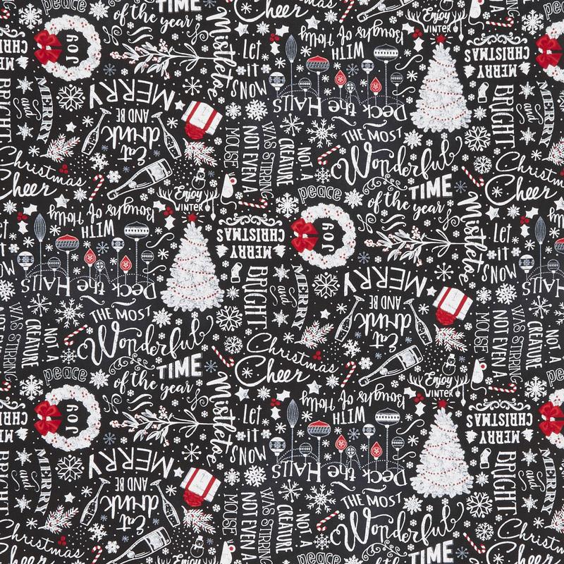 Let It Snow - Chalk Merry Christmas Tossed Black Yardage