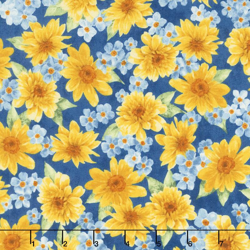 Gardenside Path - Cluster Flowers Blue Yardage