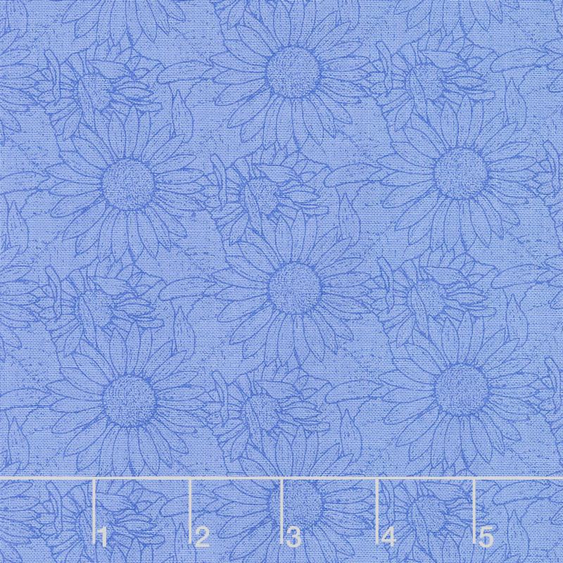 My Sunflower Garden - Outlined Sunflower Blue Yardage