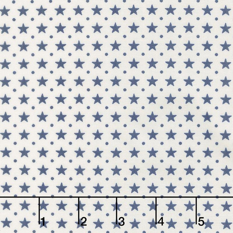 Star & Stripe Gatherings - Border Stars Ivory Blue Yardage