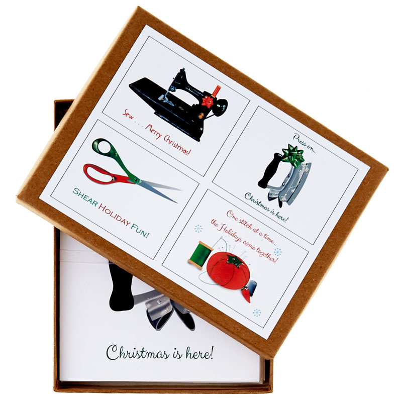 Christmas Sewing Assorted Boxed Note Cards - Set of 8