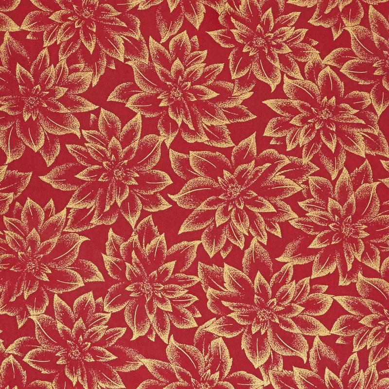 Holiday Flourish 12 - Flowers Red Metallic Yardage