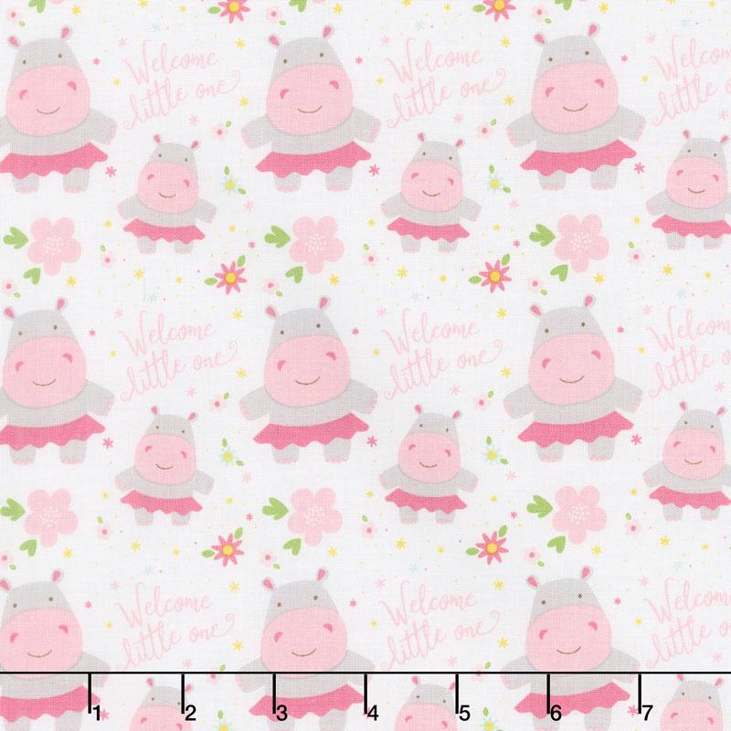 Sweet Baby Girl - Hippos White Yardage