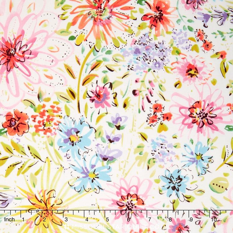 Butterfly Garden - Watercolor Floral White Yardage - Dena Designs